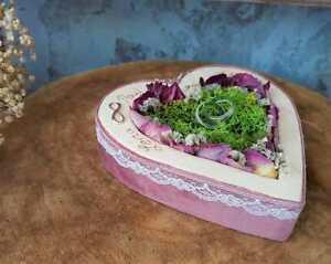 Hochzeit Ringkissen Herz Mille Fleurs Samt rosa mit Namen Unendlichkeitszeichen