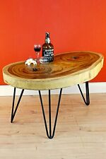 Side Table Coffee Table Wood Rustic Solid Living Room Table Tree Pane Acacia