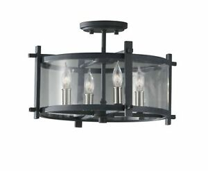 Murray Feiss Iron 4-Light Indoor Semi-Flush Mount Ethan Collection - SF292AF/BS