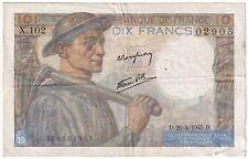 More details for 1945   france 10 francs 'miner' banknote   banknotes   km coins