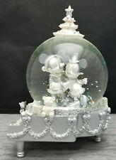 Disney Piano Mickey & Minnie Mouse Winter Wonderland Silver Snow Globe Rare