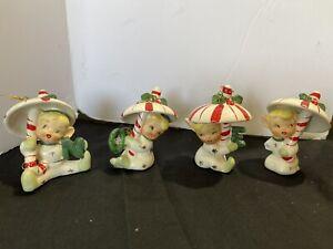 Napco Christmas Elf NOEL Pixies under Candycain Umbrella 1950 Japan Ornaments