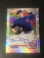 2020 Bowman Draft Chrome Burl Carraway Refractor Auto /499 Chicago Cubs