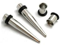 Pair Stainless Steel Tapers and Tunnels Ear Stretching Kit Gauges Plugs Set lot