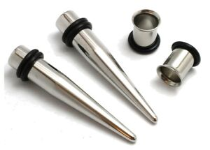 1g gauge 7mm Pair Stainless Steel Tapers and Tunnels Ear Stretching Kit Plugs