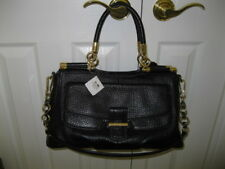 NWT Coach Madison Carrie Black Pebbled Leather Satchel Bag # 22367