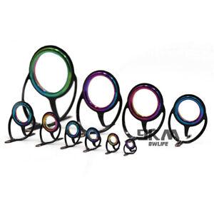 6#-42# 10Pcs Colorful Fishing Rod Repair Kit Fishing Rod Guides Tips Line Rings