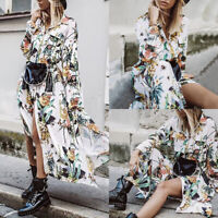 ZANZEA Women Floral Print Long Shirt Dress Summer Holiday Party Midi Dress Plus