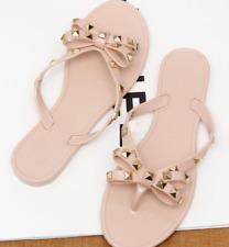Jelly flip-flop bolt WOME Summer flat rivet bowed crystal T-sandals