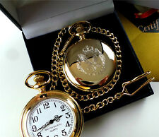 BRITISH ARMY AIR CORPS 24K REAL GOLD Plated Pocket Watch Luxury Gift Case Boxed