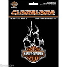 HARLEY DAVIDSON MOTORCYCLES BLACK AND SILVER CLING BLING 3D STICKER DECAL