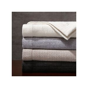 HOLIDAY GIFT MADISON PARK SIGNATURE Luxury 100% Wool Bed Throw 80 by 96in