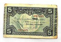 Spain- Guerra Civil. Billete. 5 Pesetas 1937. Bilbao. Serie A.