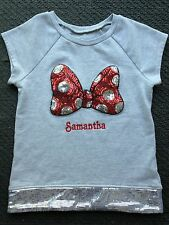 Girls Disney Minnie Mouse Shirt Size M Personalized Samantha w sequins