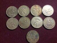 BELGIEN: Lot von 9 St 5 Franc Münzen 1986