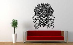Wall Art Vinyl Room Sticker Decal Mural Skeleton Scull Feathers Bones  bo140
