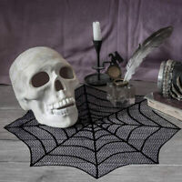 Lace Spider Web Table Topper Cobweb Fireplace Mantel Scarf Cover Halloween Decor