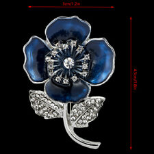 Blue Poppy Flower Lapel Pin Badge Enamel Remembrance Brooch Pins Banquet Jewelry