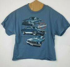 Ford Men's Tee Classic Mustage Muscle Cars Blue T-Shirt Size XL