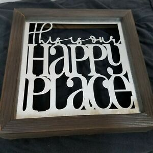"This is Our Happy Place Laser Cut Metal Sign Wood Frame Wall Decor 7.5"" X 7.5"""