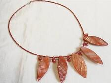 HM513...SHELL NECKLACE - RED SHELL & BUGLE BEADS - FREE UK P&P