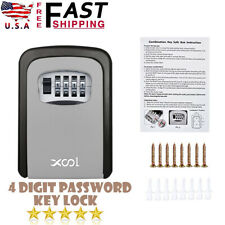 4-Digit Combination Key Lock Box Wall Mount Safe Security Storage Case Silver US