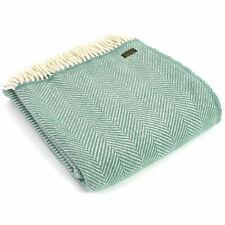 TWEEDMILL TEXTILES 100% Wool Sofa Bed Rug Blanket FISHBONE SEA GREEN CREAM THROW