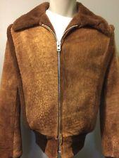 Vtg Schott Shearling Bomber Jacket Leather Flight Coat USA Mens 36 Suede Fleece