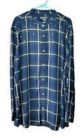 INC Mens Size XXXL Plaid Long Sleeve Shirt Banded Collar Star Studs Pearl Snaps