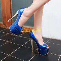 Womens Stilettos Platform Super High Heel Pumps Peep Toe Sandals Shoes Nightclub