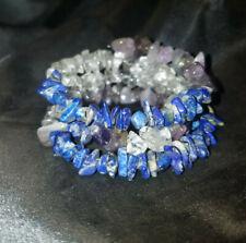 POWERFUL CRYSTALS: Amethyst, Quartz, Lapis, Wire Wrapped Bracelet, Magical/Reiki