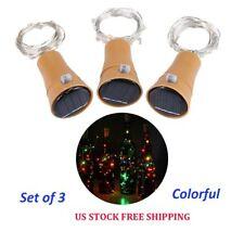 3x Solar Colorful Bottle Cork Shape Lights 10 LED Night Fairy String Light Lamp