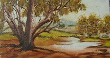 "PETER SCHRODER AUSTRALIAN SMALL OIL ""LARGE GUM TREE BY LAKE"" C 1980"
