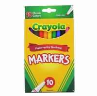 Crayola Classic Fine Line Markers, Assorted Colors 10 ea (Pack of 2)