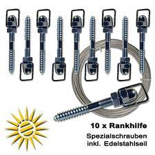 10x Rankhilfe mit 2mm Edelstahlseil für Rosen und Kletterpflanzen Rank Hilfe