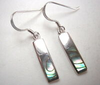 Abalone Rectangle Bars Dangle Earrings 925 Sterling Silver