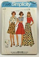 1976 Simplicity Sewing Pattern 7395 Womens Back-Wrap Skirt & Top Wardrobe 3427F