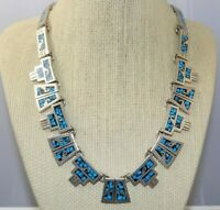 Vintage Sterling Silver Crushed Turquoise Inlay Necklace CollarTaxco Mexico 86g