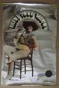 Peter Max Paint Your Wagon Poster Woman Smoking Cigarette Mylar Foil Signed 1969
