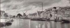 Wanddekor Glas Amsterdam Hafen mit Mühle Motiv 2 Digitaldruck s/w 20 x 50