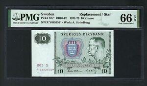 Sweden 10 Kronor 1975 P52c* Replacement Uncirculated Grade 66