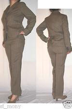 Women Brown Smart Trouser Suit 2 Buttons Striped Refine Wool 92% GAP Size 12
