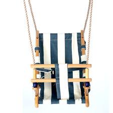 Babyschaukel Kinderschaukel Holz Stoff blau/weiß Schaukel zum Aufhängen