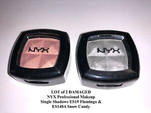 LOT of 2 NYX Single Shadows ES19 Flamingo & ES140A Snow Candy *DAMAGED ~ SEALED*