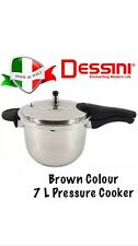 Dessini 7 Liter Pressure Cooker 18/8 Stainless Steel Brown Colour