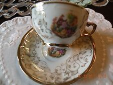 Antique Edwardian Figural and Gold Demitasse Cup and Saucer - Bavaria