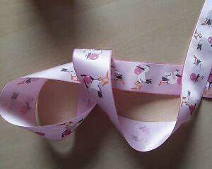2m / 4 cm  Rosa Band Baby Mädchen Storch Taufe Geburt Geschenk neu