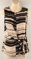 FARHI BY NICOLE FARHI Women's Sleeveless Patterned Top, Beige/Black, size XL