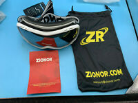 Zionor Ski Goggles Black White Trim Red Yellow Lens W/ Storage Bag