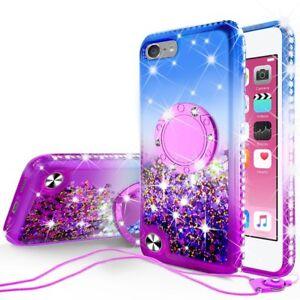 iPod Touch 5 6 7th Generation Cute Liquid Glitter Bling Phone Case Kickstand